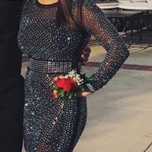 Black rhinestone body-con dress